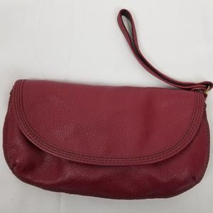 Lucky Brand Leather Wristlet clutch, Rouge Red